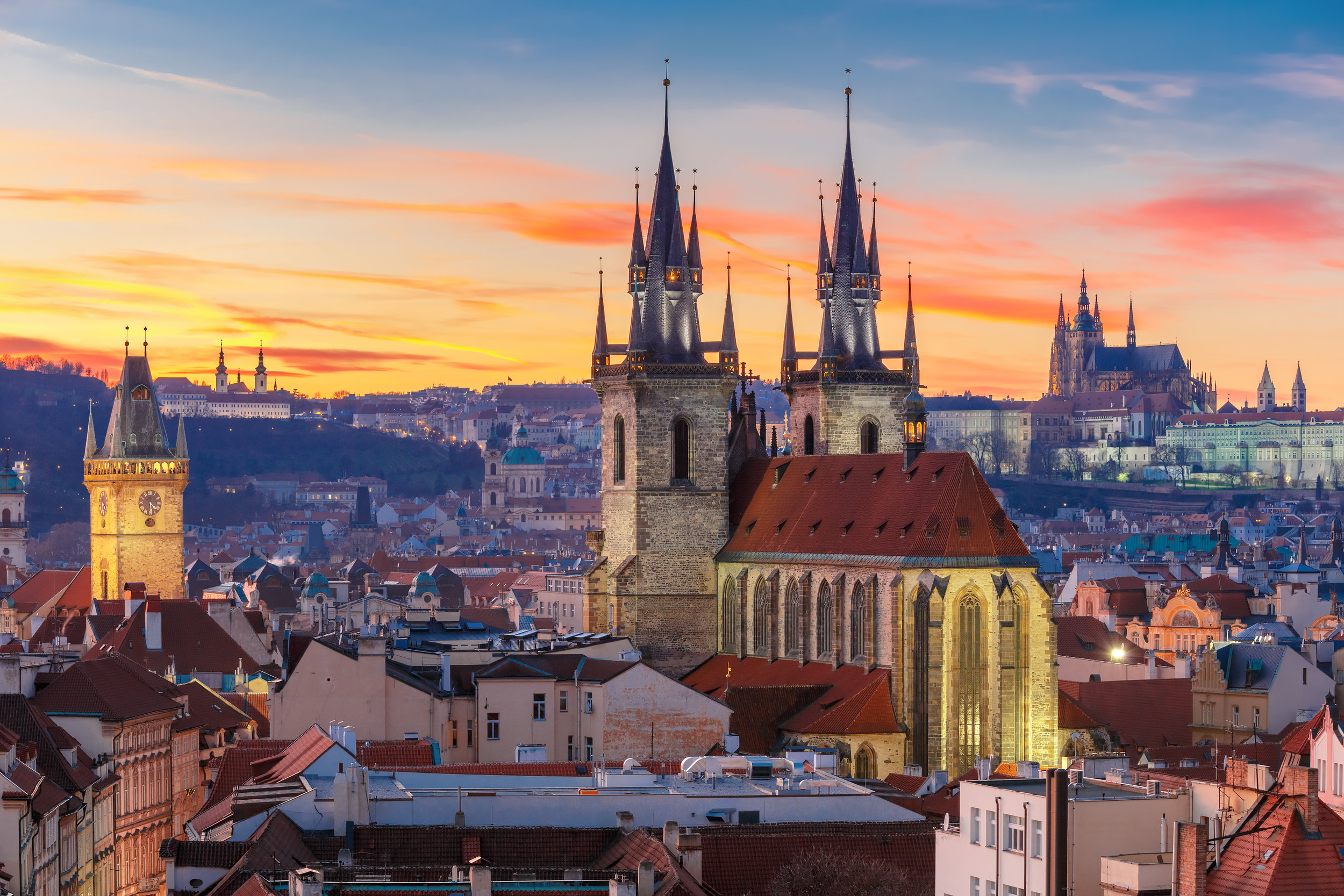 Prague Castle and Great South Tower at sunset in Prague, Czech Republic