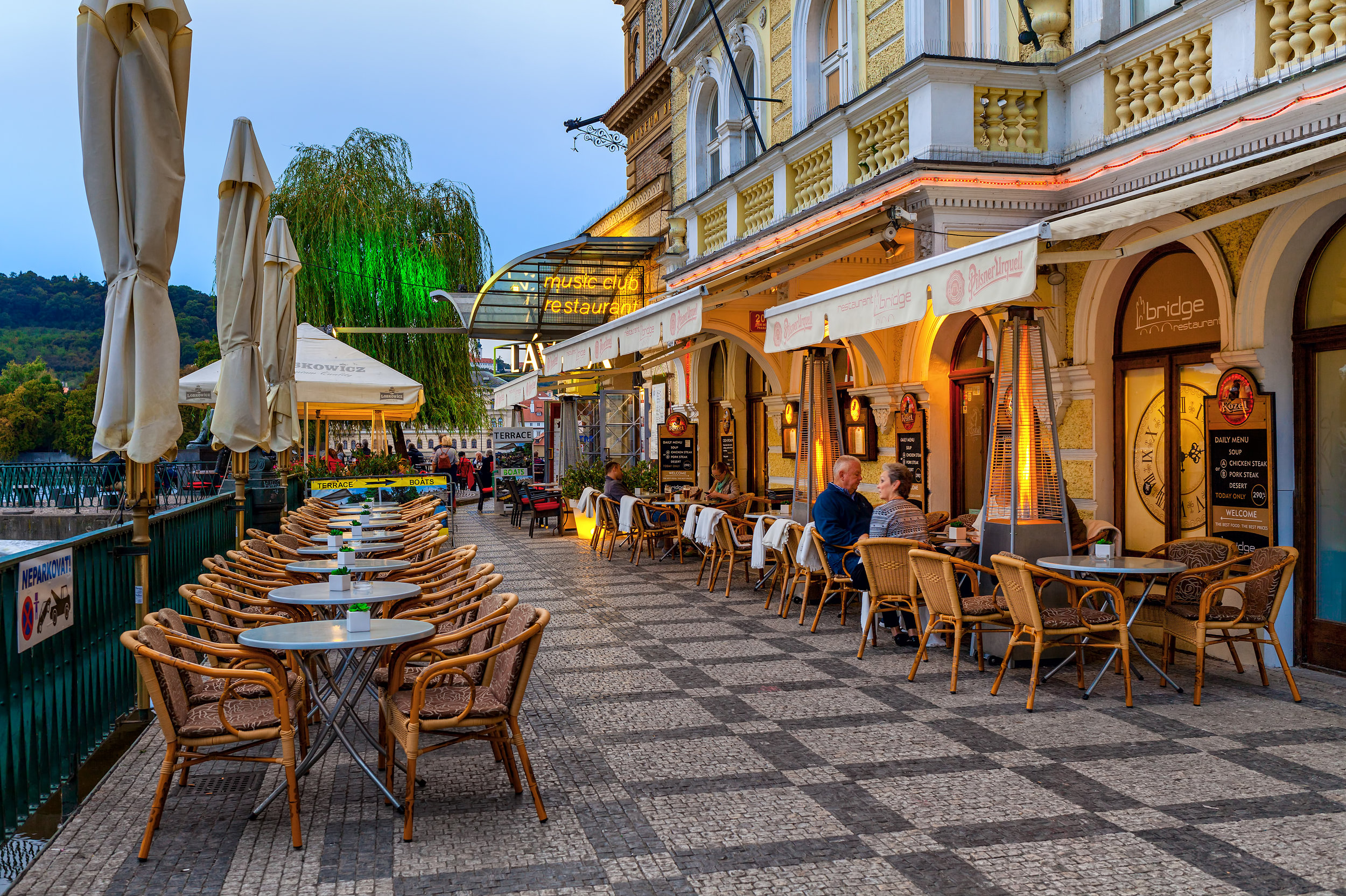 Beer cheese and drinks at a riverside restaurant in Prague, Czech Republic