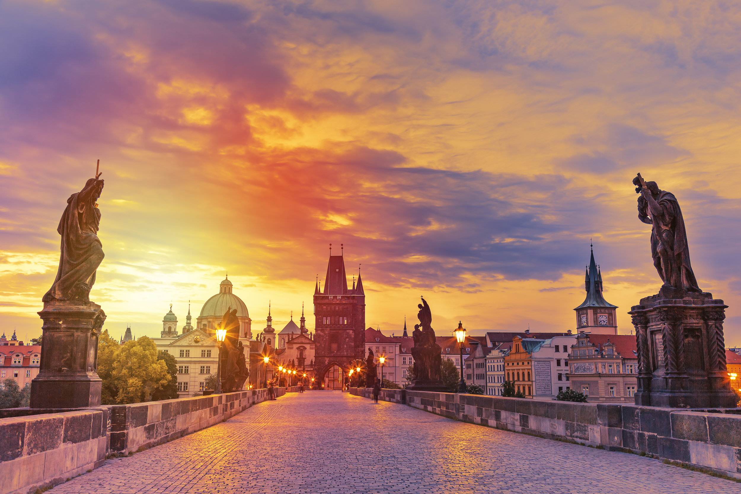 Sunrise on Charles Bridge in Prague, Czech Republic