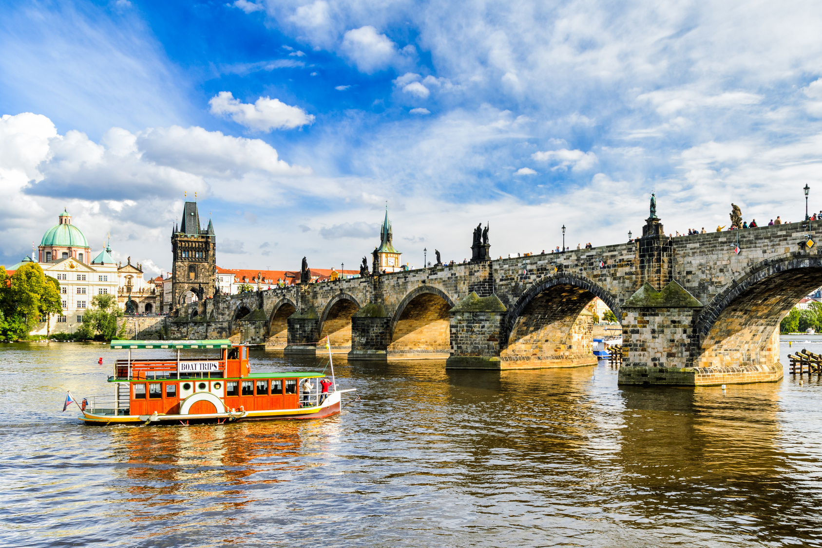 Eastern river bank of Charles River in Prague, Czech Republic
