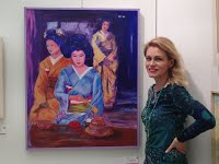 """at the Meguro Museum Art Exhibit with my """"Tea Ceremony II"""" Tokyo December 2014"""