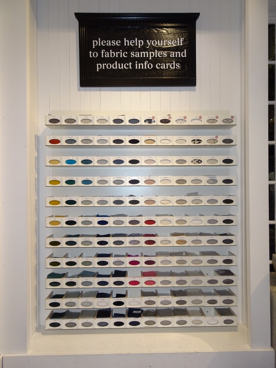 The wall of colour, fabric and design inspiration.