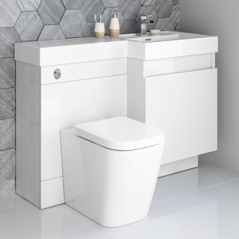 Olympia Gloss White Drawer Vanity Unit - Florence Pan