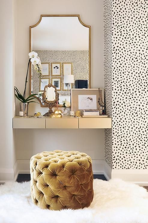 My favourite look so far is this beauty area design by  Stacey Cohen . Spotted wallpaper, gold accents and faux textures for the win!