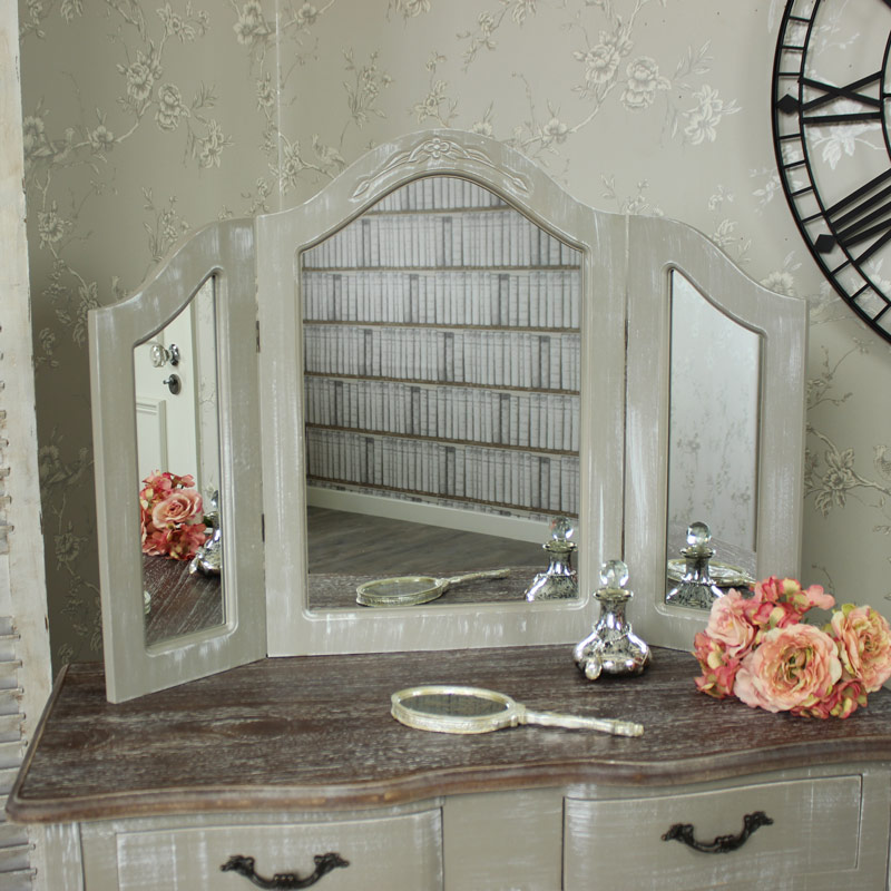 Ornate Grey Triple Dressing Table Vanity  Mirror - French  £64.95