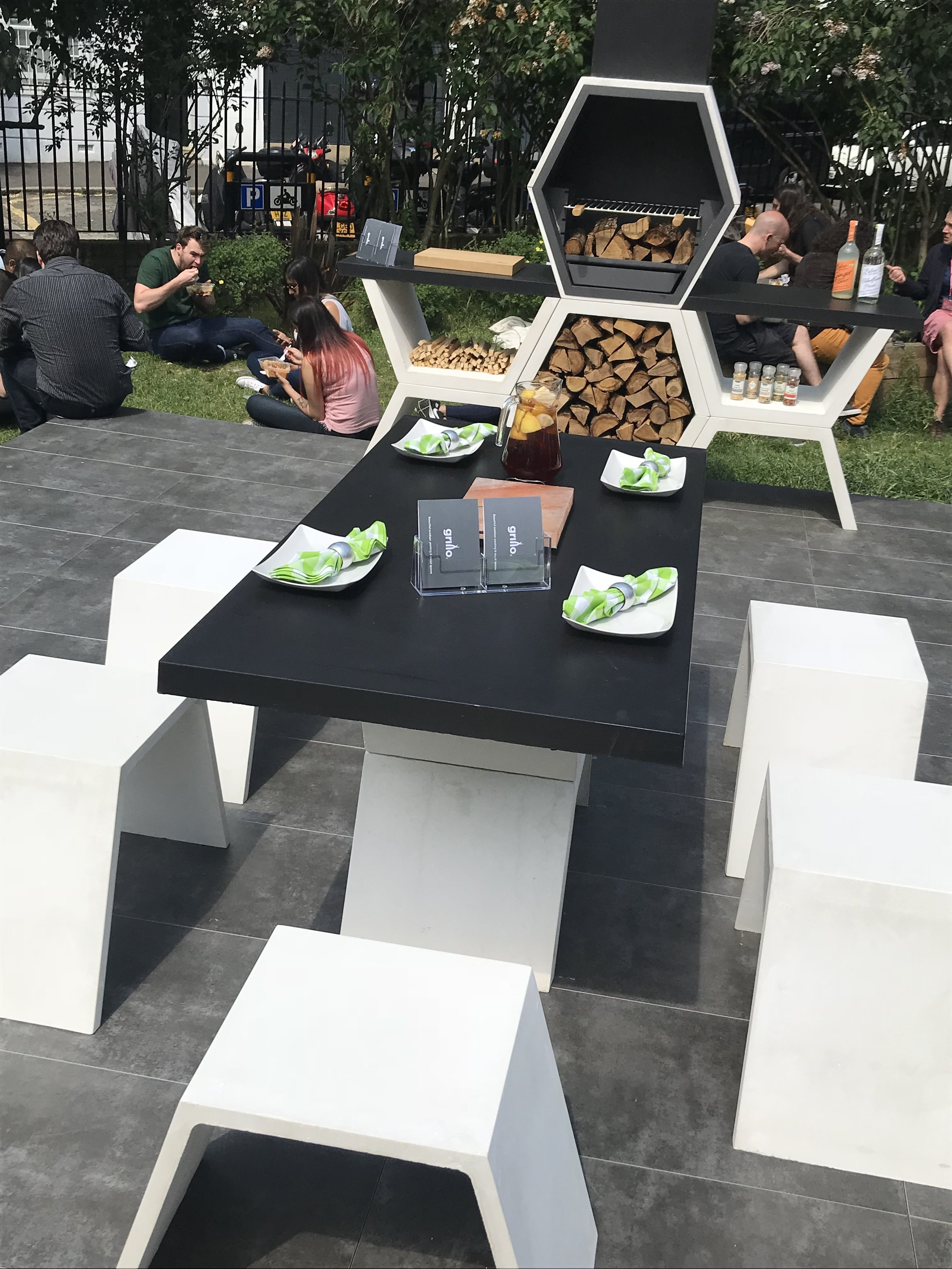 Grillo were exhibiting the Grillo Forge with a layout including a bar and stools (appox. £20,000), and the Grillo Element collection, consisting of barbecue, table and seats (approx £3,500).