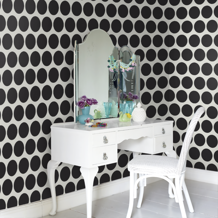 Ok so I'm defs not a fan of the furniture and interiors used in the image (other than the wallpaper of course), but there is SO MUCH MORE that you could do with this stylish wallpaper.