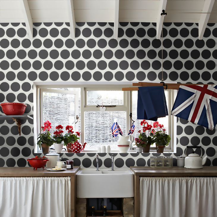 TEAM GB baby! As you can see, black and white pairs well with red and blue but this wallpaper would look with most colours...I'm even thinking neon yellow!