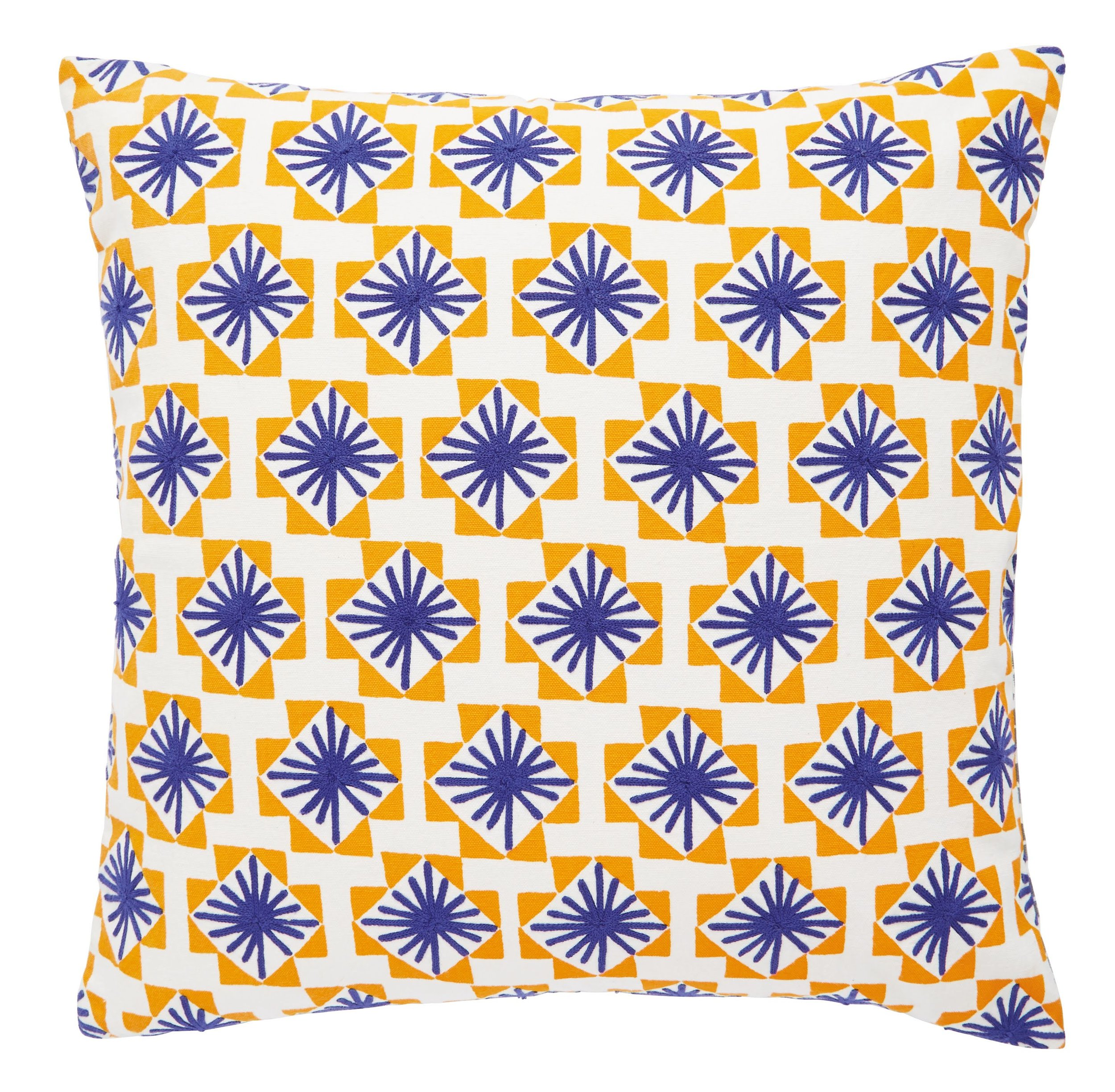 BAZAAR Yellow And Blue Geometric Embroidered Cushion