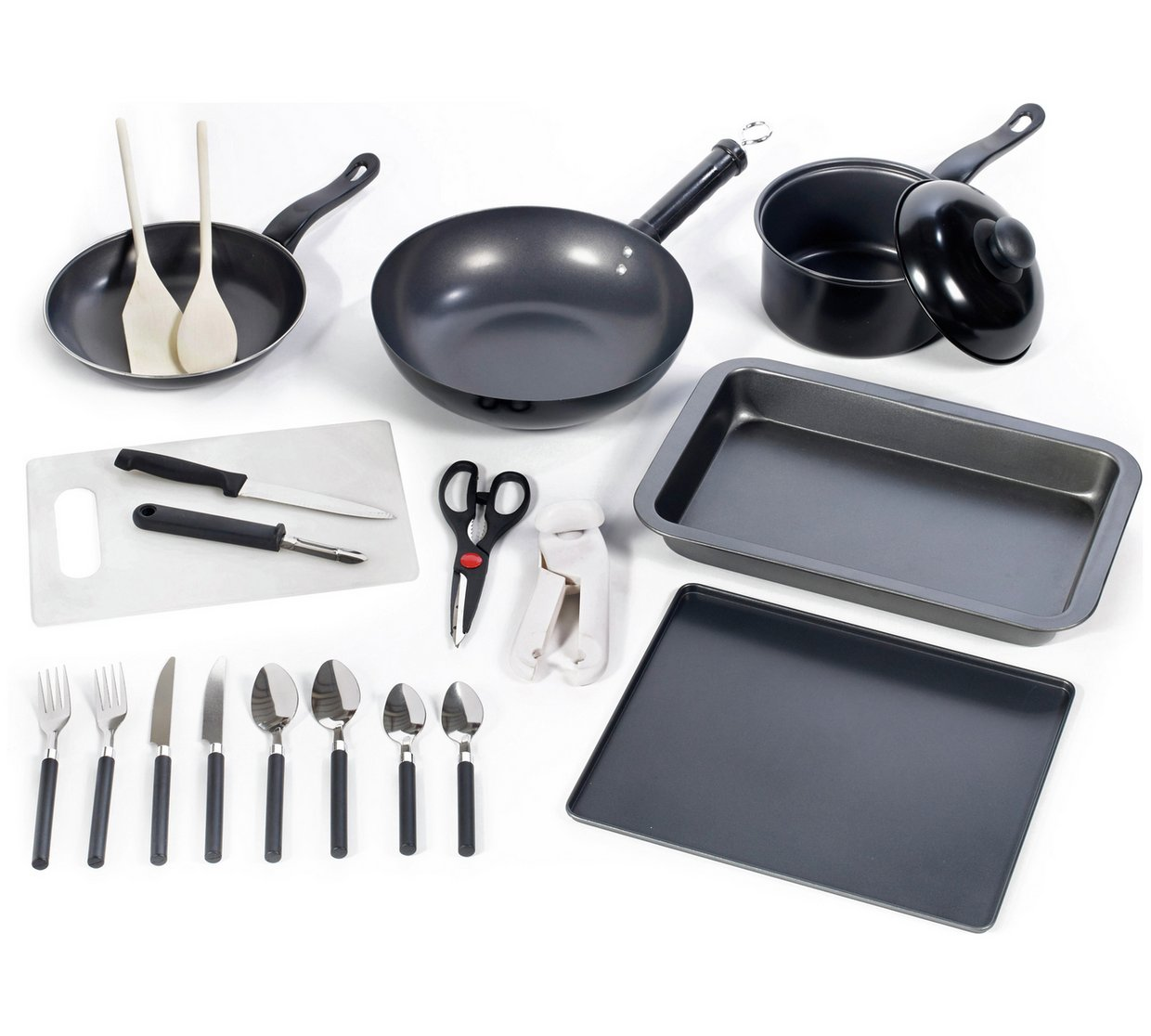 The Simple Value 20 Piece Kitchen Essentials Starter Set from Argos is available for £22.