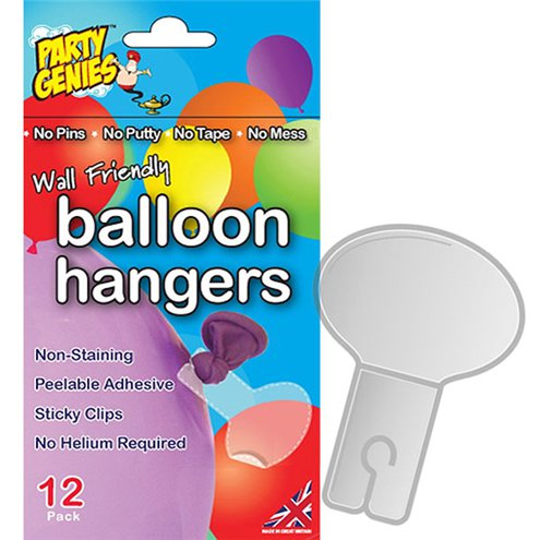 Attach the balloon hangers to the tie of the balloons...