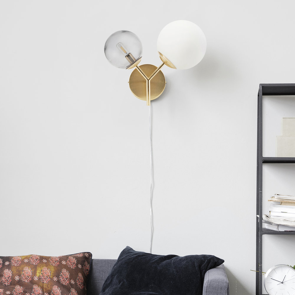 TWICE WALL LAMP - HOUSE DOCTORTwo glass domes attached to branches of brass make up this beautiful wall fixing by House Doctor. £156
