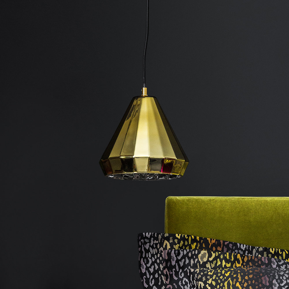 * SAVE * - Lyna Ceiling Light - A BY AMARAMade from high quality metal, this light is available in shimmering brass and black hues and features a flared light shade design with a subtle faceted pattern. Reduced from £85 to £42.50