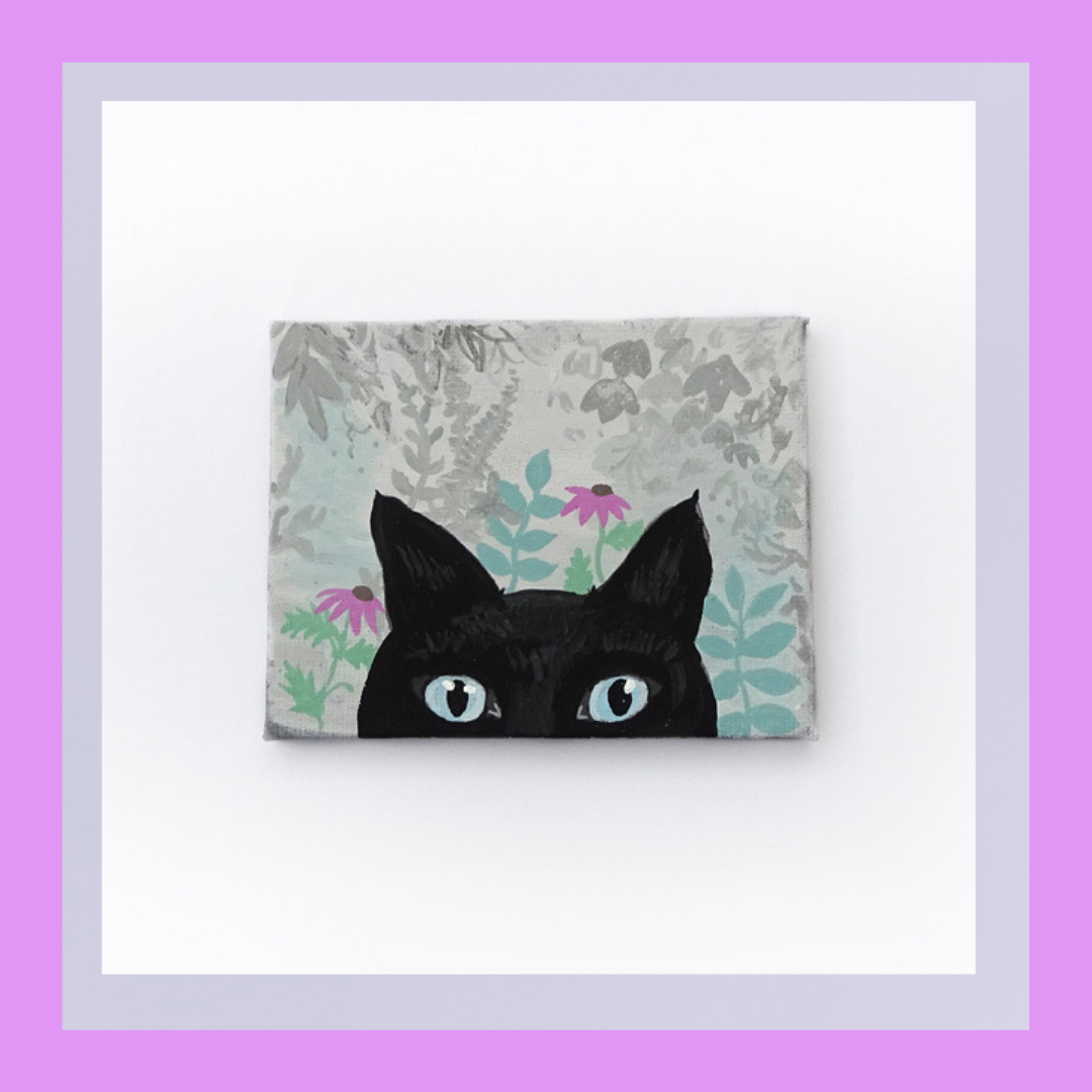 Helen's 'Curious' painting is inspired by the adventures of cats.   £22.00