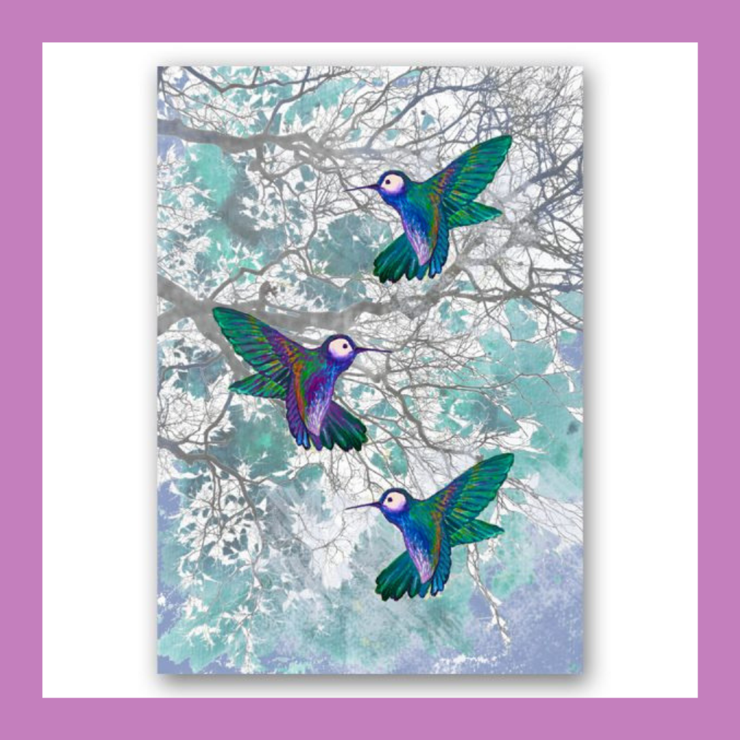 'Hummingbirds' Wildlife Forest Art Print - Stylish collage illustration art print of three humming birds amongst the forest trees in lovely turquoise and blue colours. From £8.00