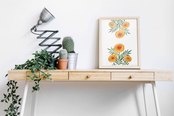 Orange 'Marigolds' Floral Art Print - These gorgeous orange flowers are vibrant and warm with an inviting tropical feel, reminding us of hot sunny afternoons. This art print was created from an original gouache painting.From £8.00