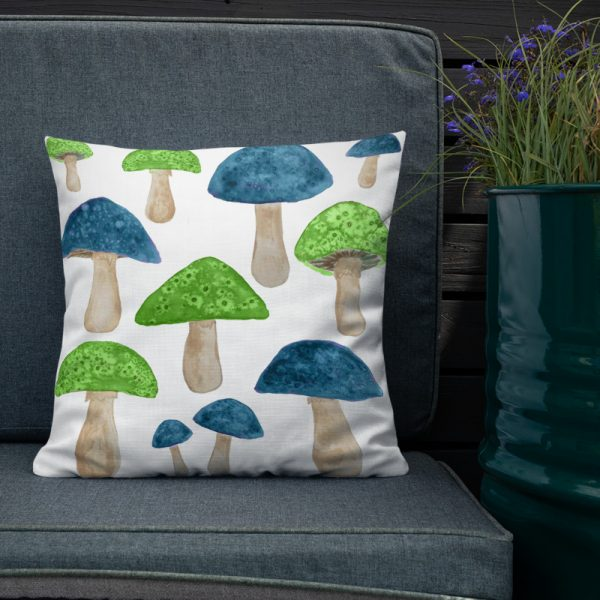 Green & Teal Mushrooms Print Cushion - Stylish cushion, features funky mushrooms watercolour illustration print in green and teal. Ideal as a fun addition to your decor. £20.00