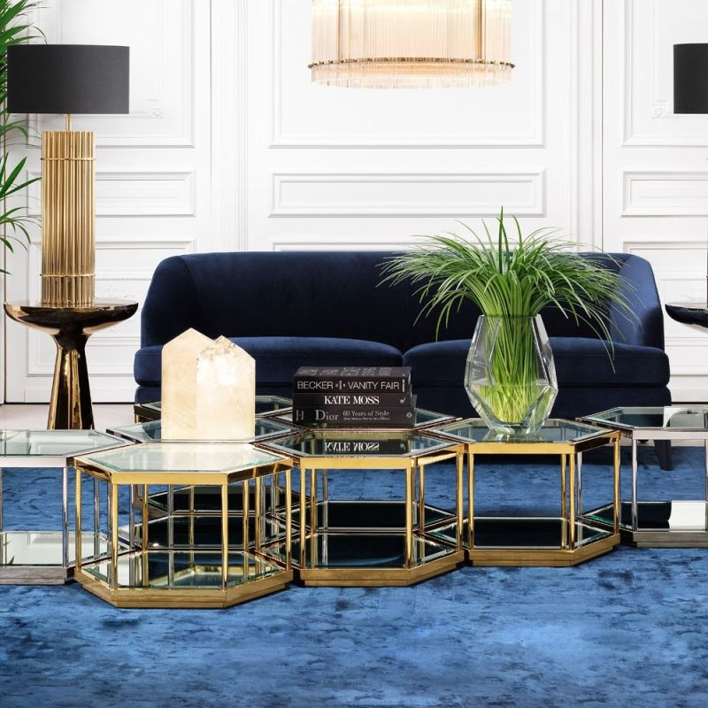 A four-in-one glamorous coffee table design by Eichholtz.