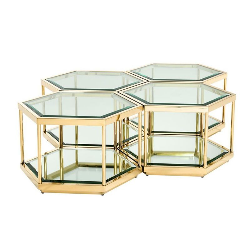 The hexagonally shaped tables are finished in a gold brushed steel, topped with clear glass and stylish mirrored glass at the base. - Sweetpea & Willow