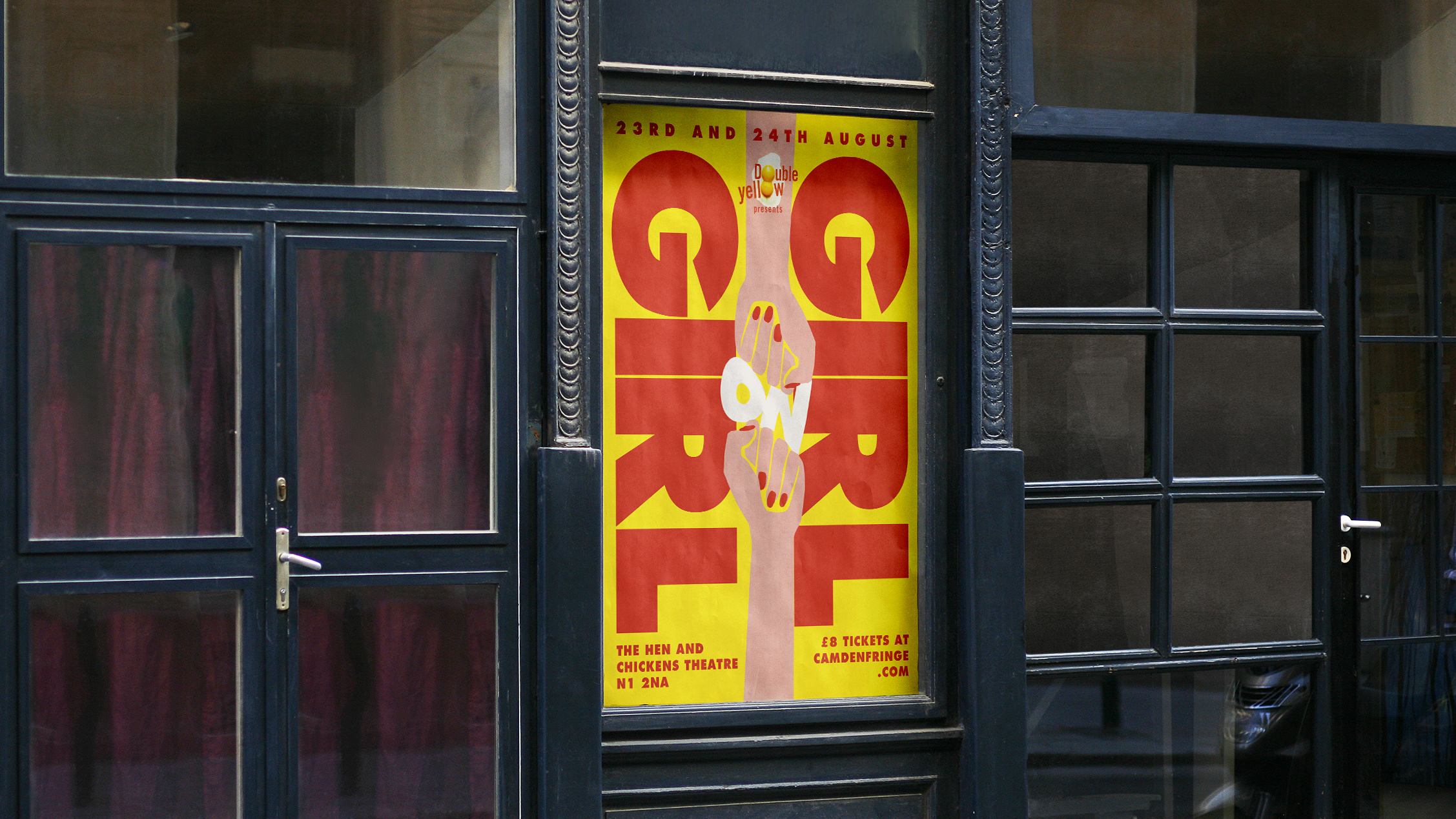 Poster for a show by Double Yellow about the internal divisions within feminism.