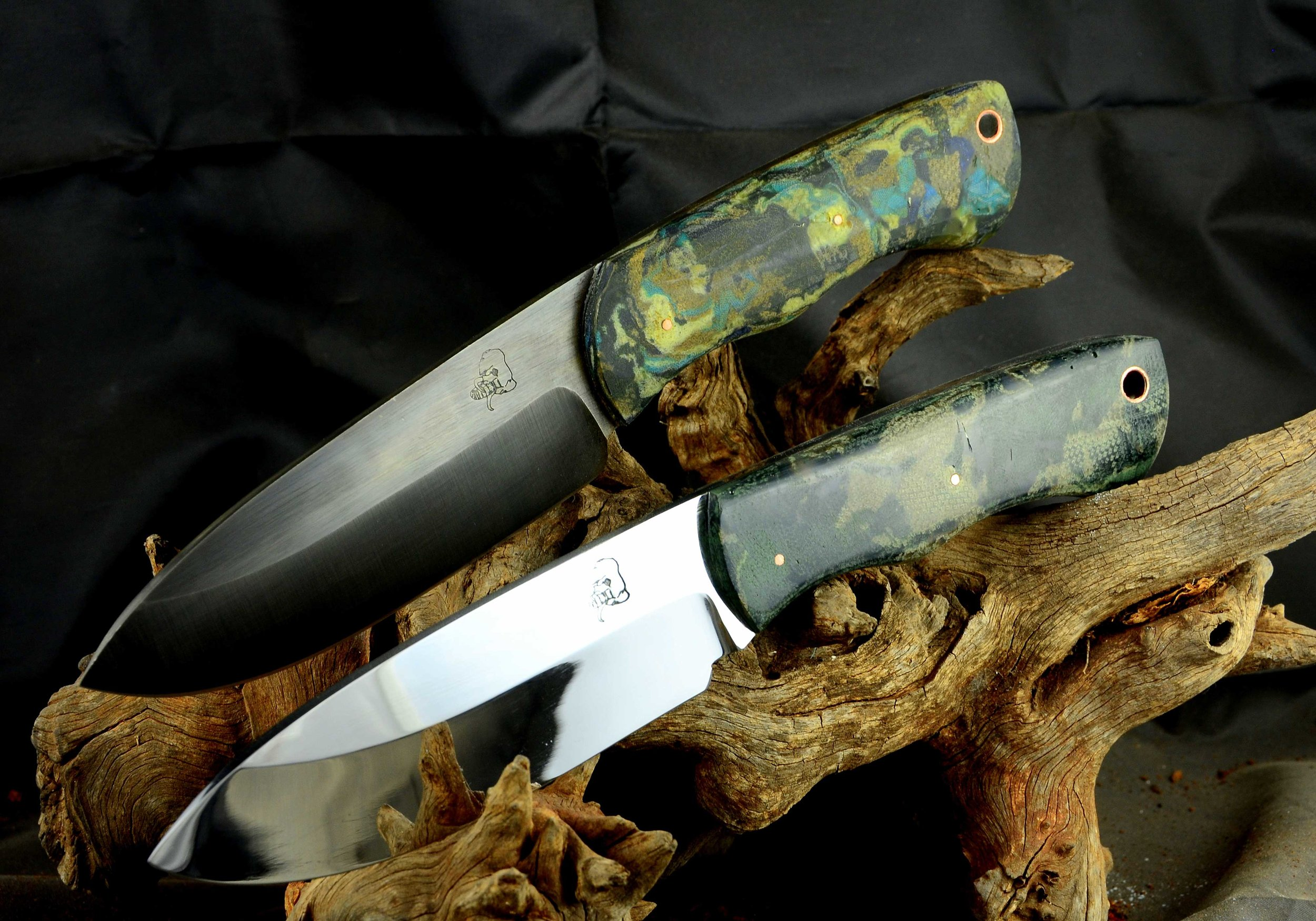 Drop point hunters with camo Micarta scales