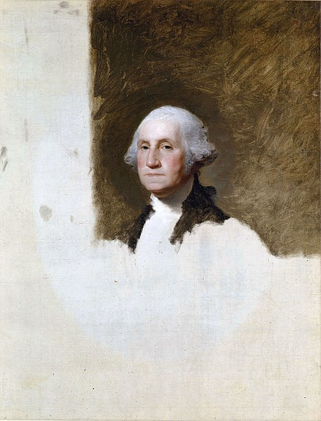 United States one-dollar bill and  Athenaeum Portrait , 1796, oil on canvas by Gilbert Stuart (1755–1828), 121.9 x 94 cm (40 x 37 in). Museum of Fine Arts, Boston