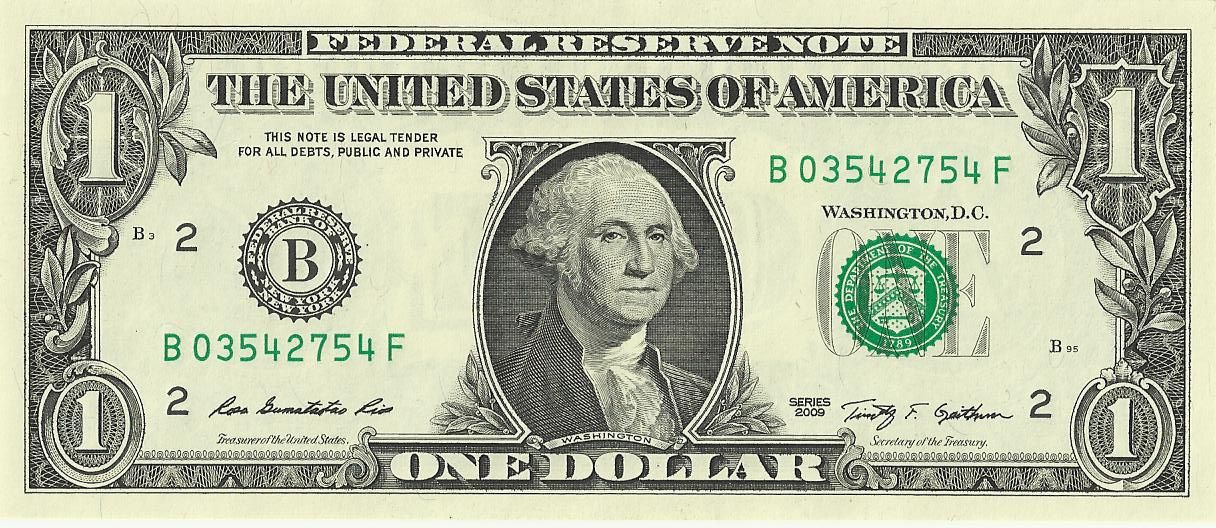 Front of the United States one-dollar bill featuring an inverse print of Gilbert Stuart's Washington portrait.