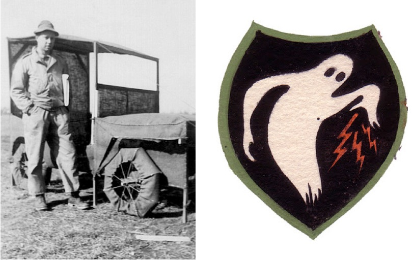 Ellsworth Kelly next to a faux jeep made of burlap and wood, 1943 (left). Ghost Army Insignia circa 1944 (right).