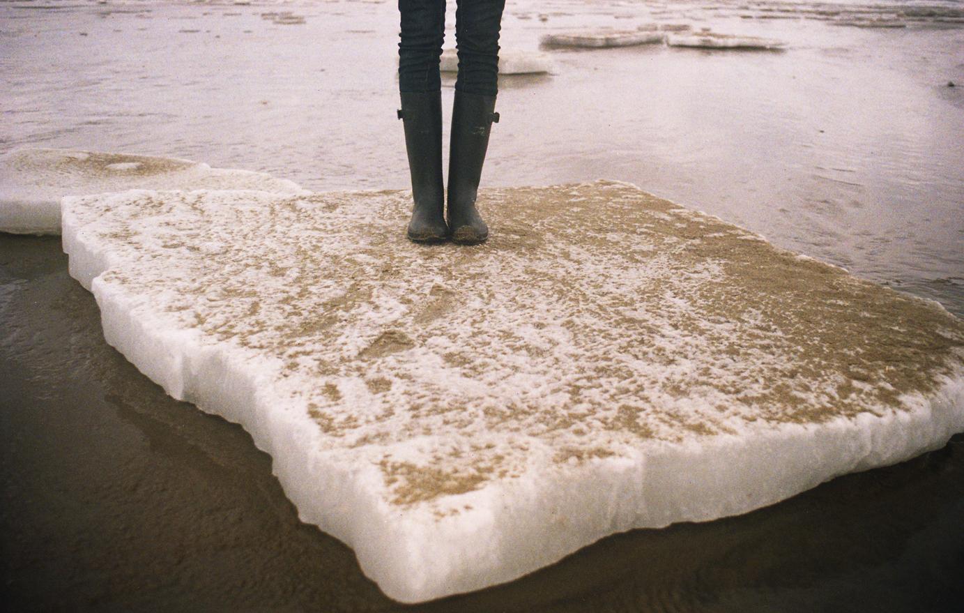 Popham Beach, Maine ice flow exploration