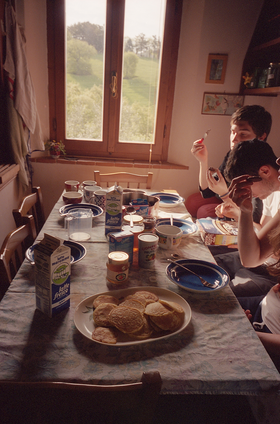 Breakfast with the regazzi - they had never had pancakes before!
