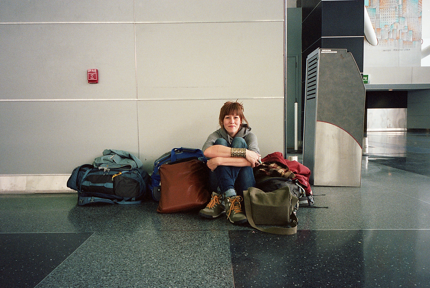 Me & the gear. Travel bags were not what they are now and I certainly didn't need to pack a tent in hindsight.