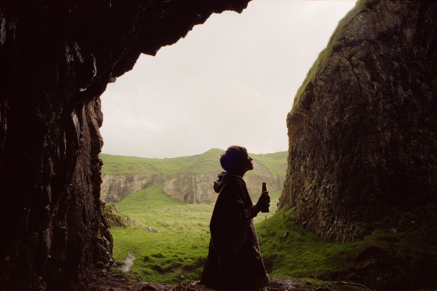 It rains a lot in Ireland. One minute its sunny, the next rain and sometimes both at the same time.During one shower we were lucky enough to find shelter in a cave. I reached into my purse and found a forgotten Guinness which John and I split as we waited out the rain.