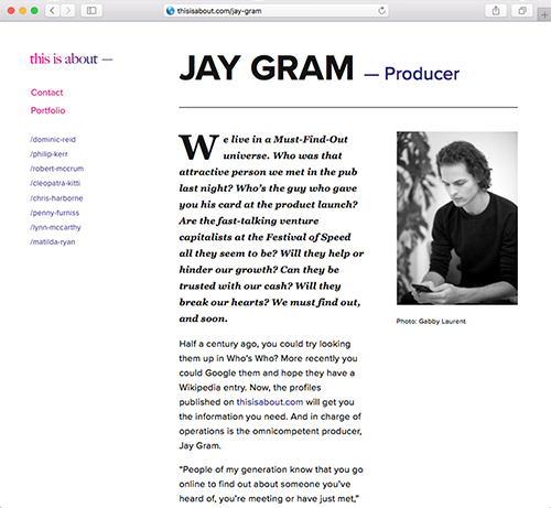 Click to read Jay's This Is About page