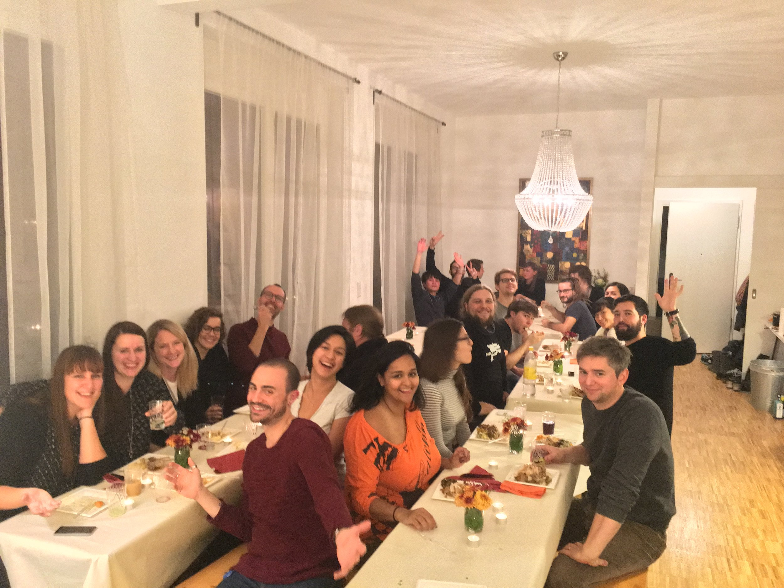 My work is truly all about people. I joyfully hosted the office in my flat for Thanksgiving dinner.