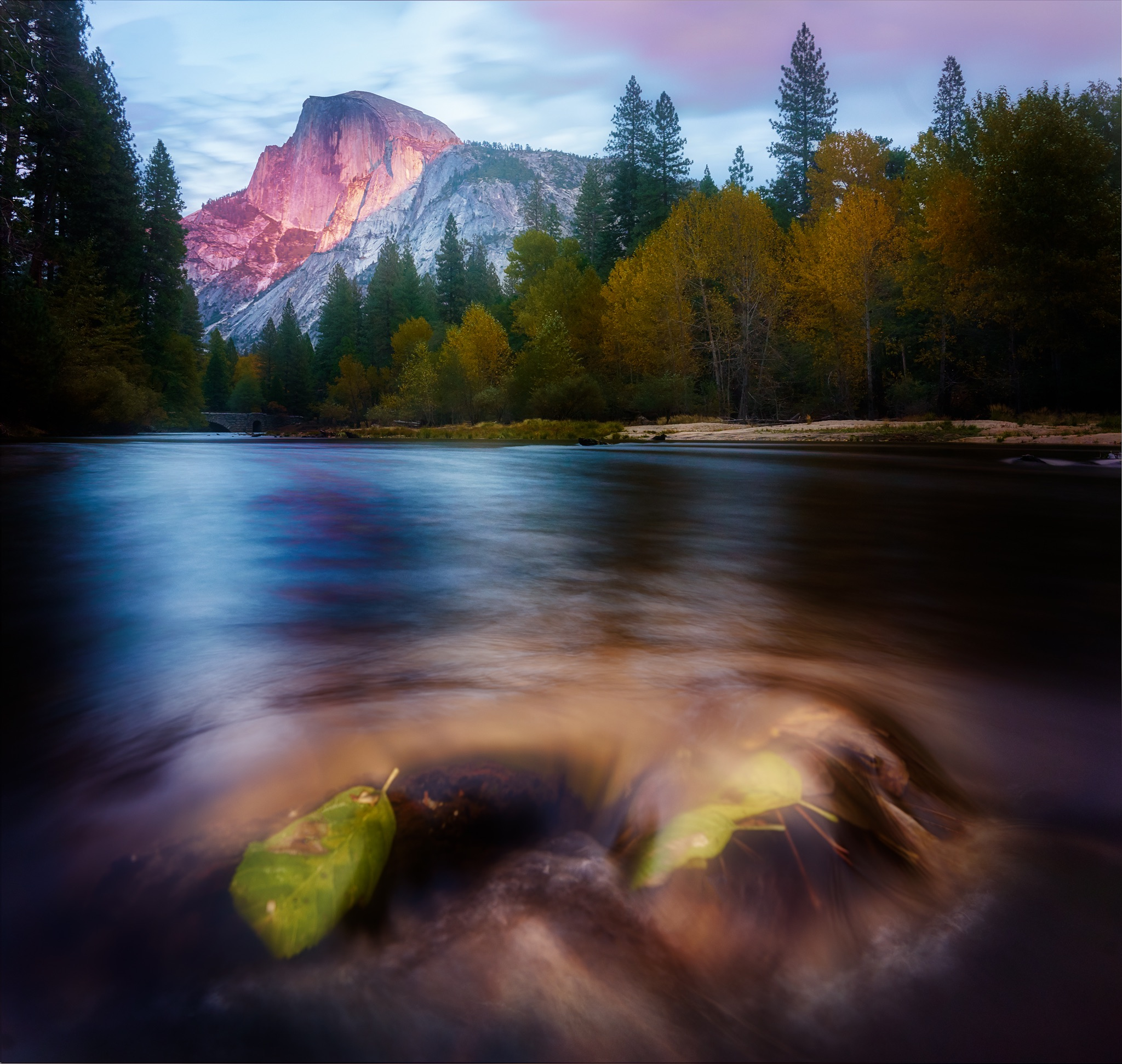 Sunset at Half Dome from The Merced in Yosemite National Park