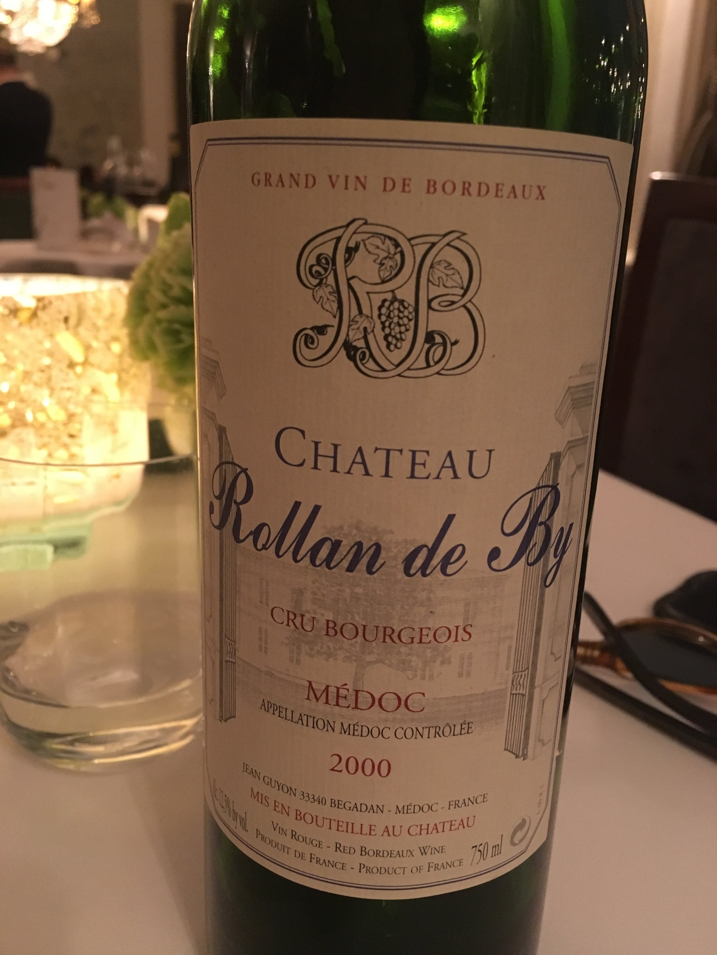 Rollan de By Médoc 2000, smooth as silk (though the sommelier warned us that not every Rollan de By is this good)