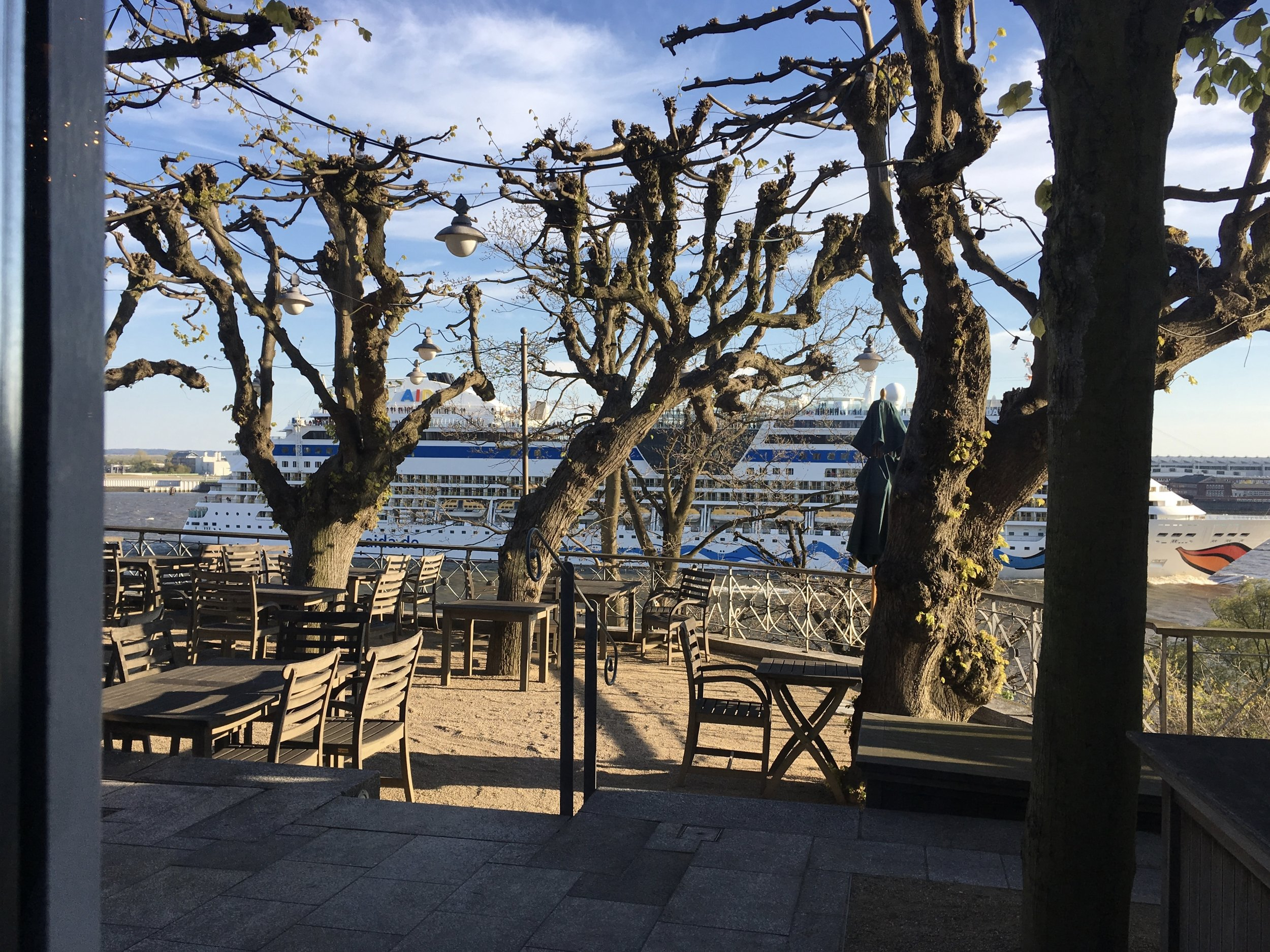 The terrace will be great in summer to get a first row for viewing cruise ships going by