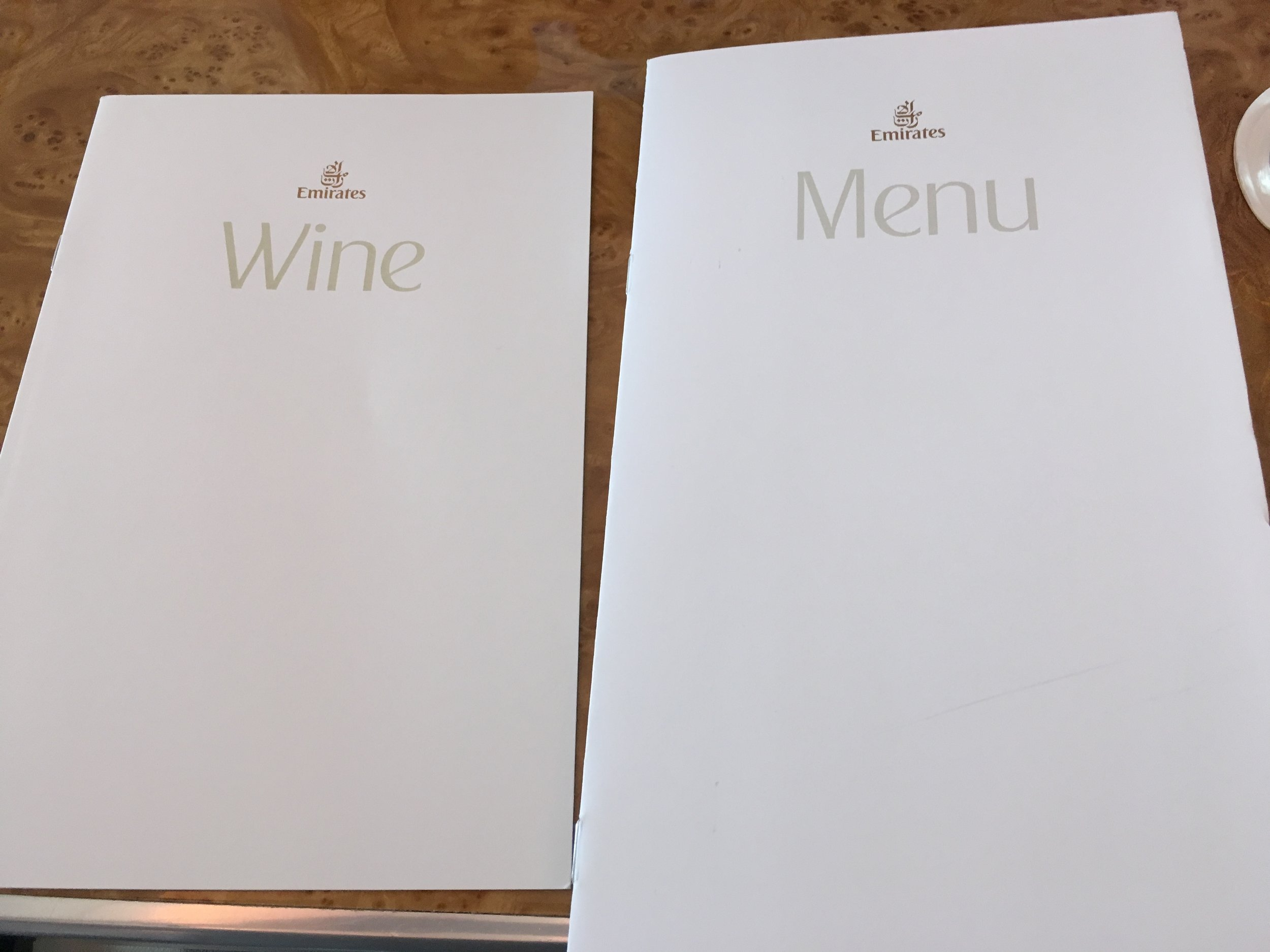 Wine and food menu