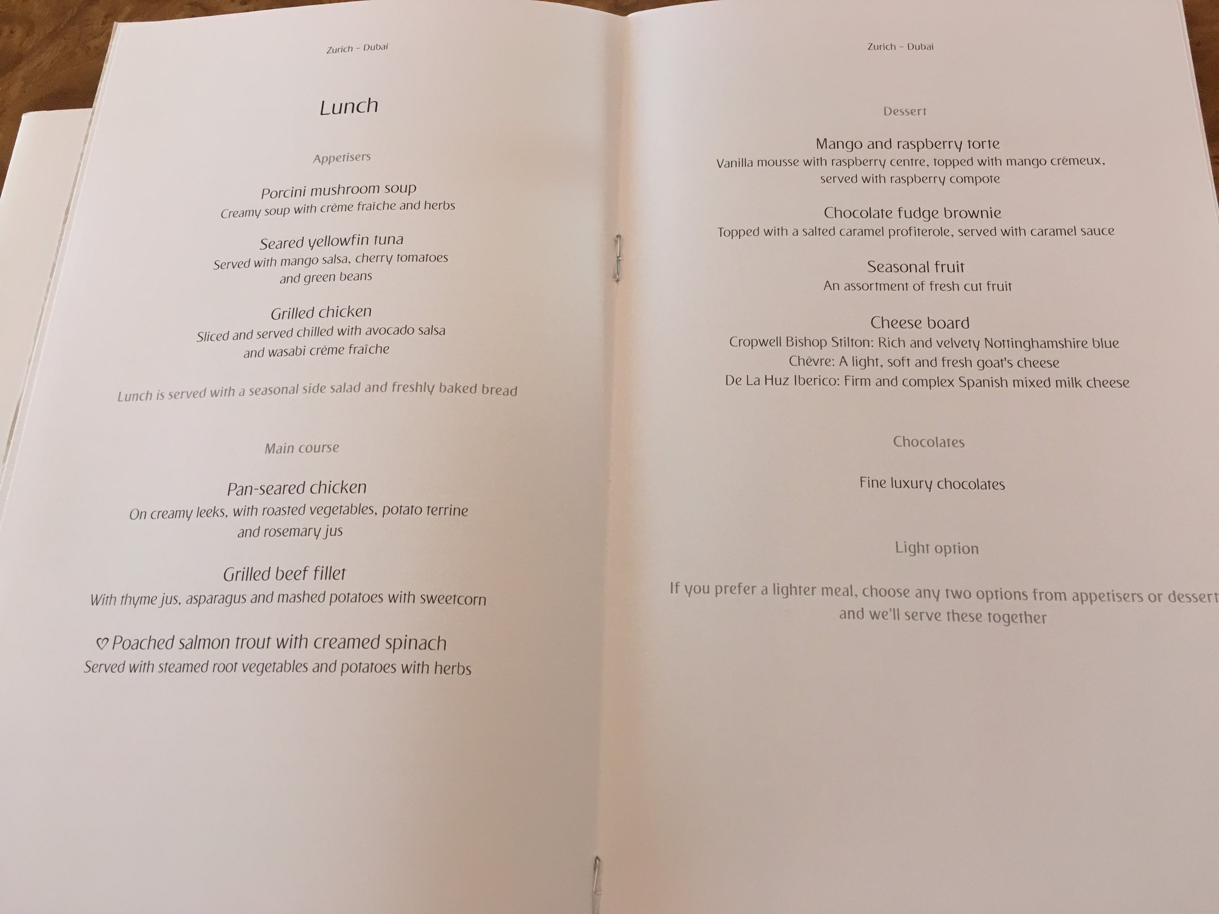 The lunch menu on this trip