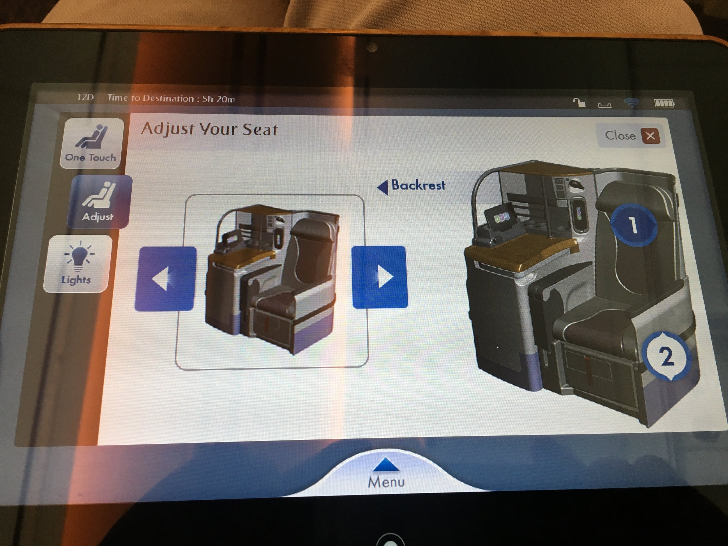 The seat is also adjustable via the tablet. This worked pretty well. The tablet was not as responsive as an iPad, but still ok.