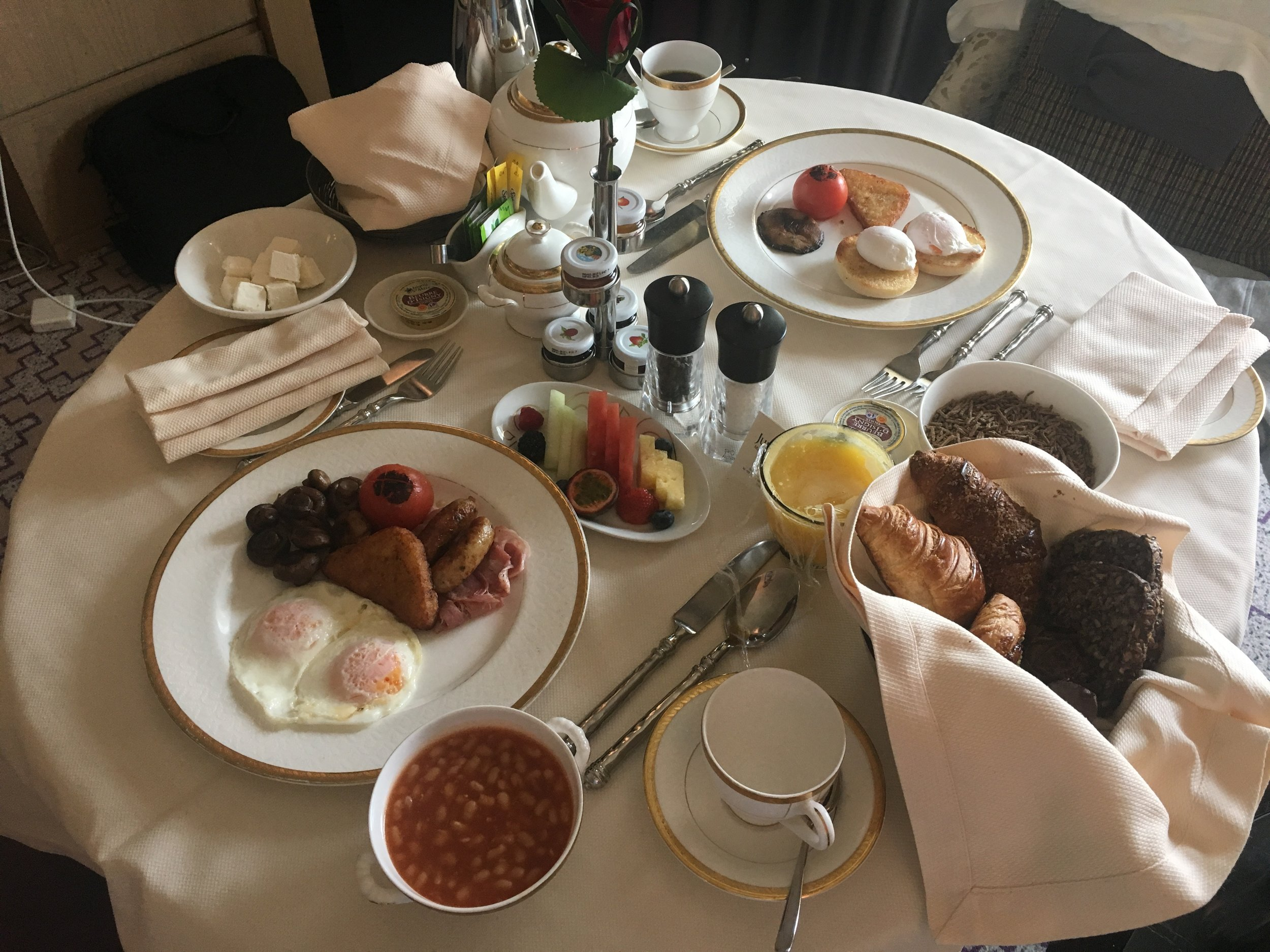 For the in-room breakfast they roll in a separate table