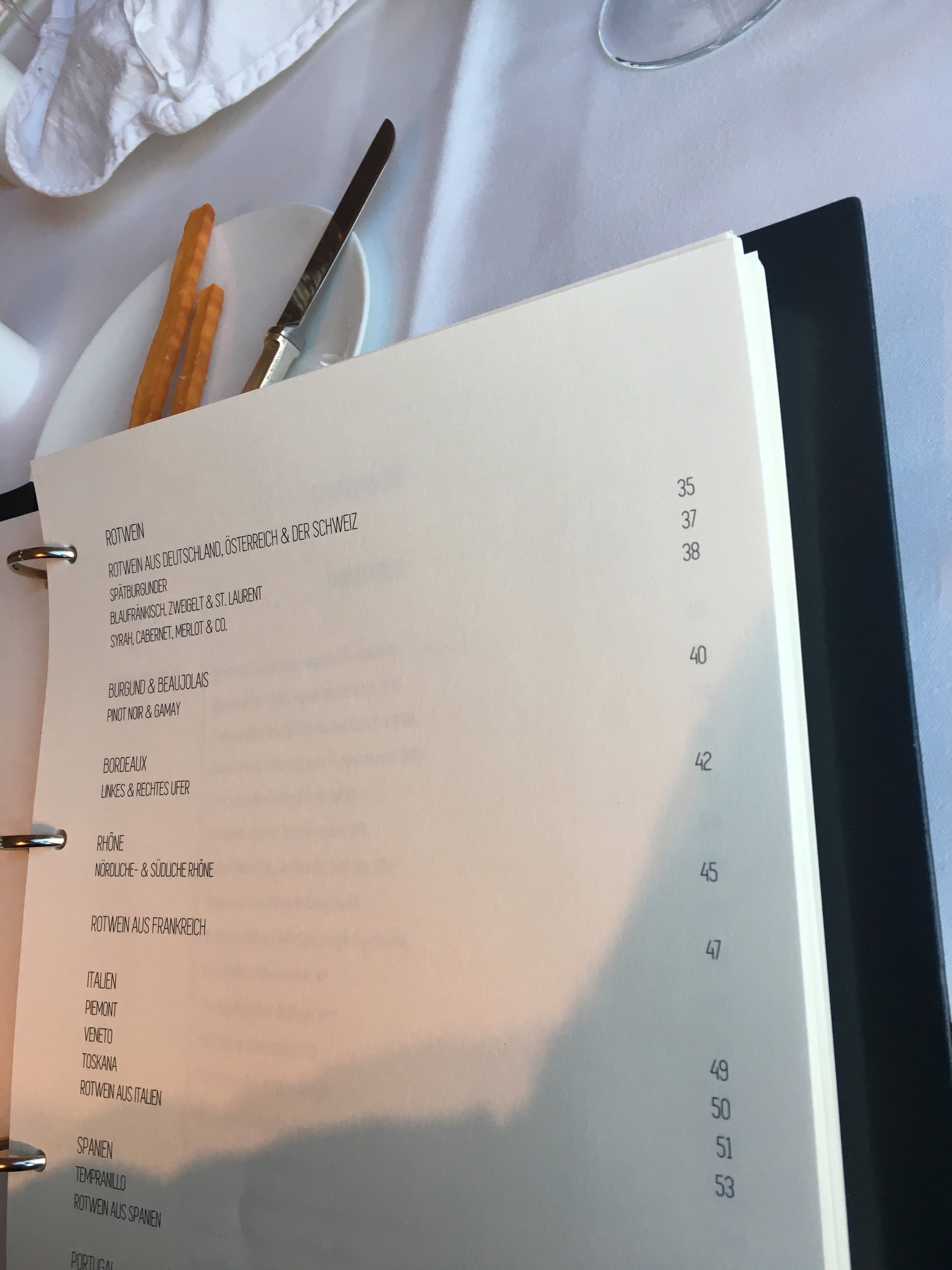 Contents of the wine menu