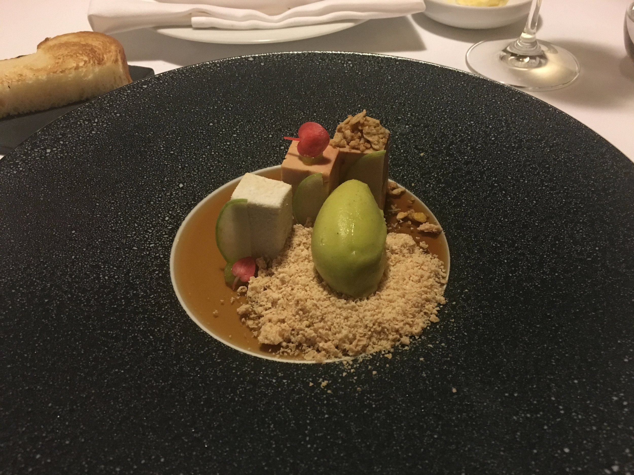 Delicious liver with peach sorbet