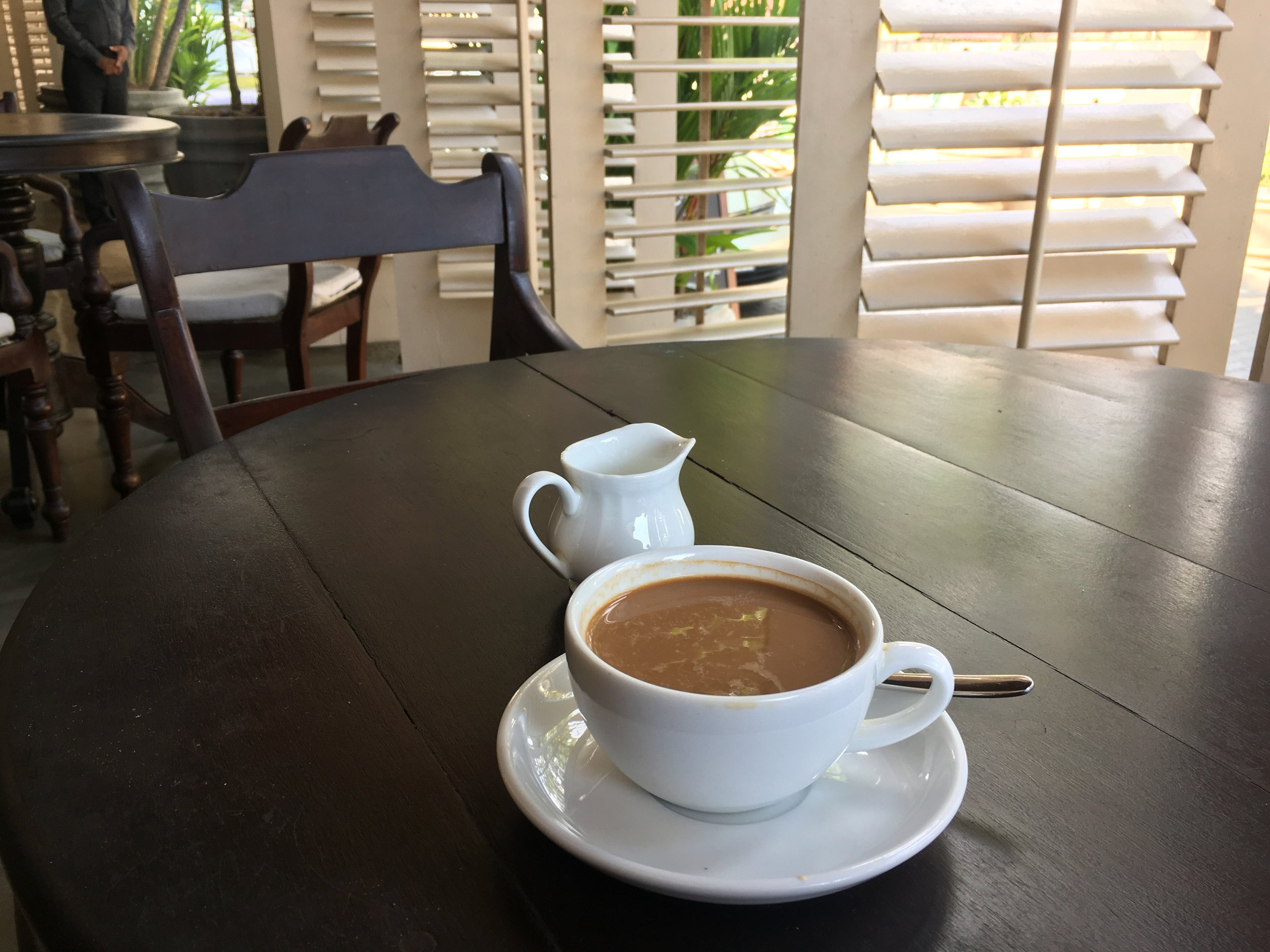 This was actually in the SLH hotel in the center of Galle: the Galle Fort Hotel. Great coffee! Next time we'll choose to stay here as well.