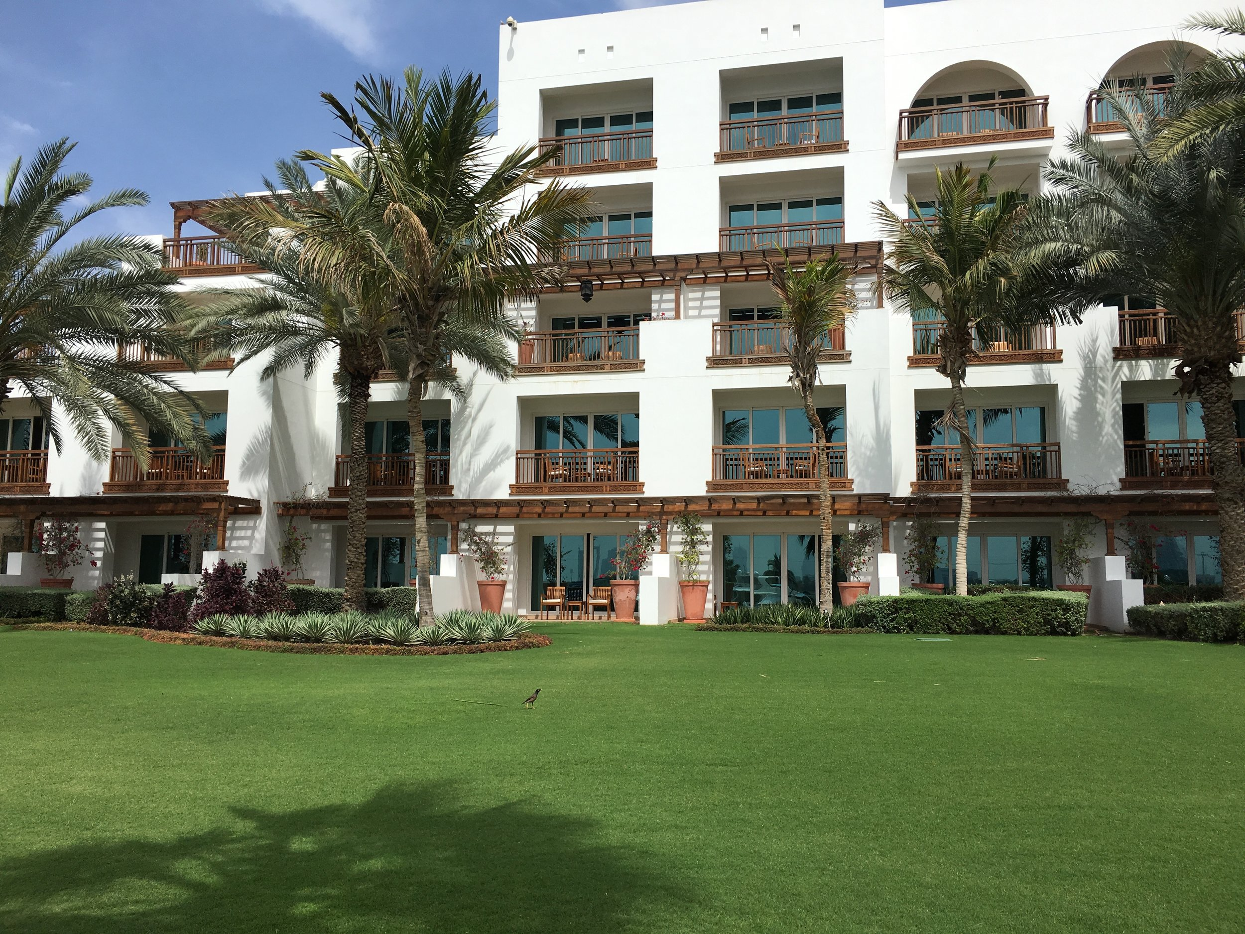 Looking at our room from the outside park - the ground floor terrace in the center