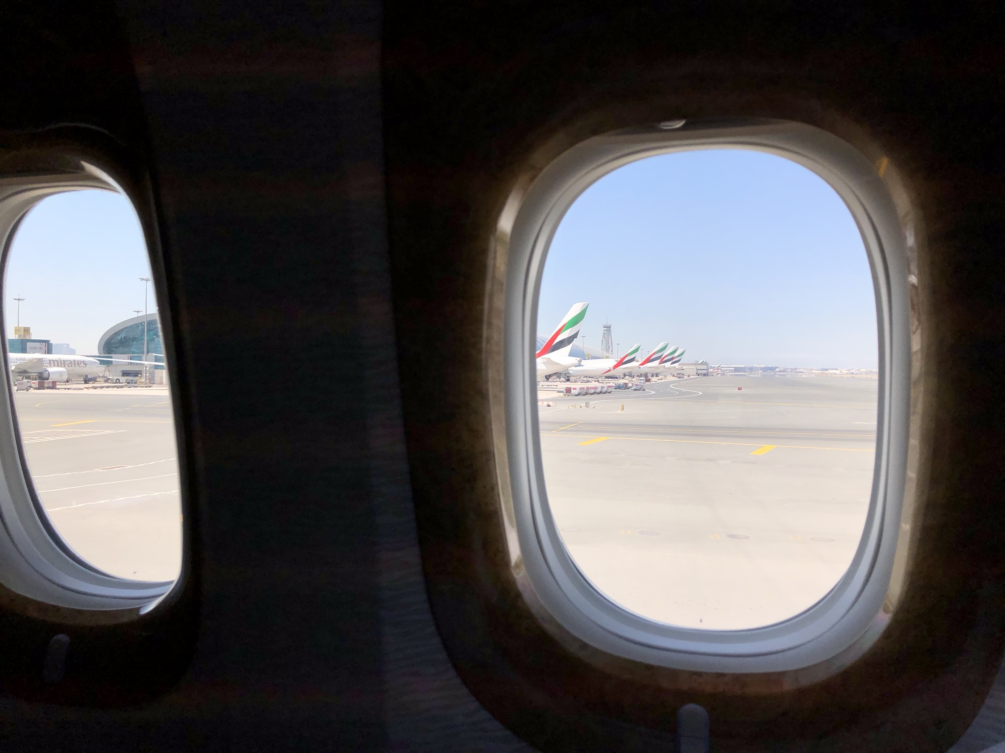 The endless fleet of Emirates planes at DXB