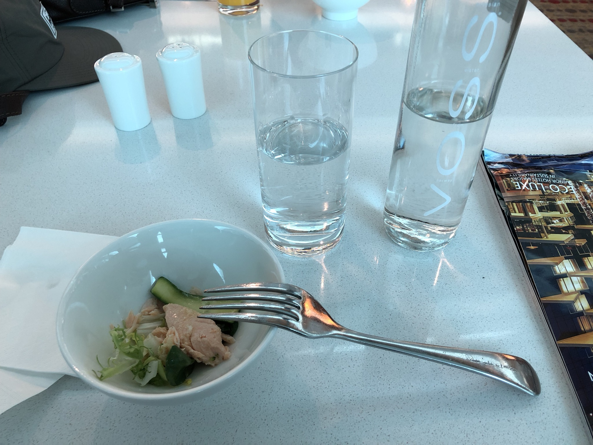 Norwegian designer water? check (unusual in an airport lounge, actually)