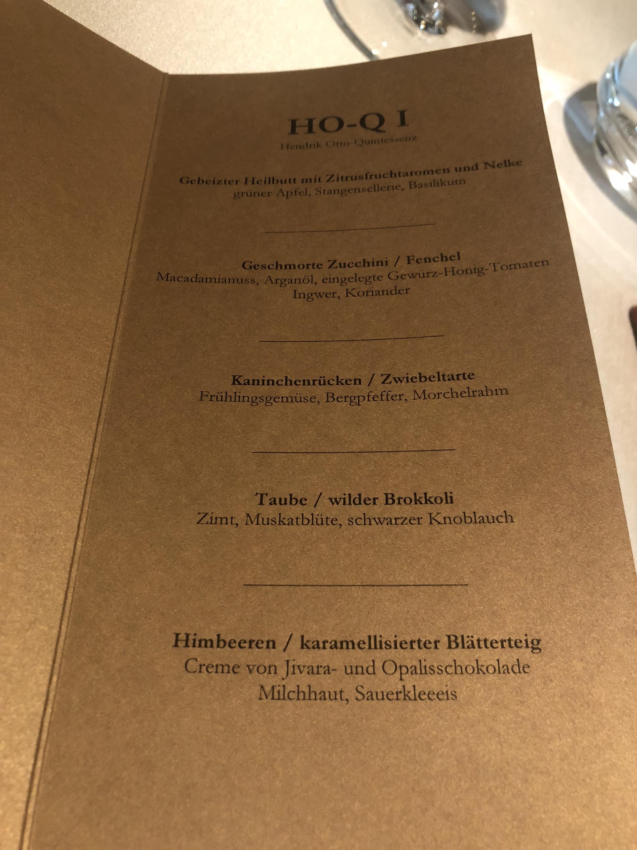 The chosen degustation menu HO-Q1