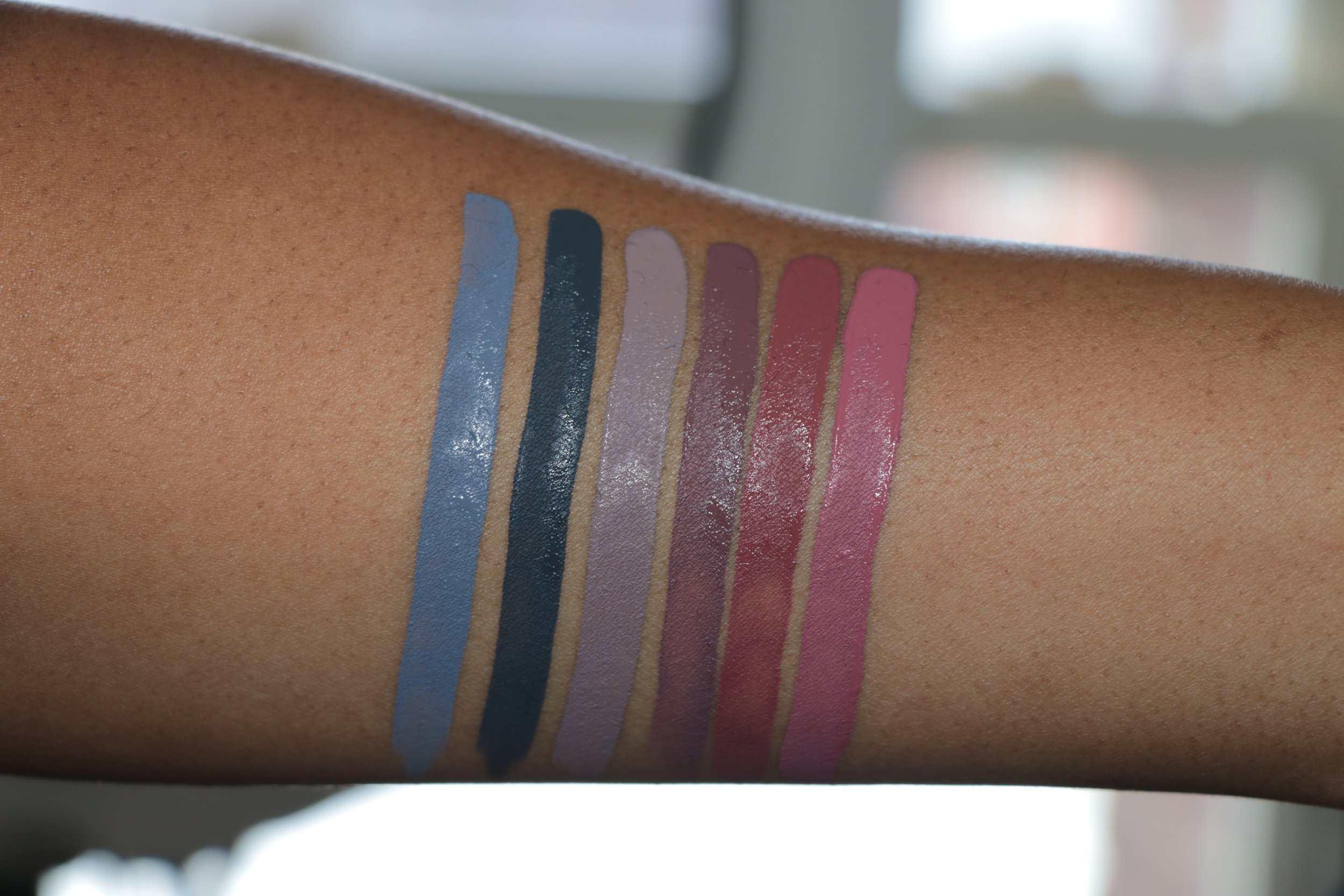 Swatch from left to right (STILL WET) Dagger, Woolf, Haze II, Haze, Lolita, Lovecraft