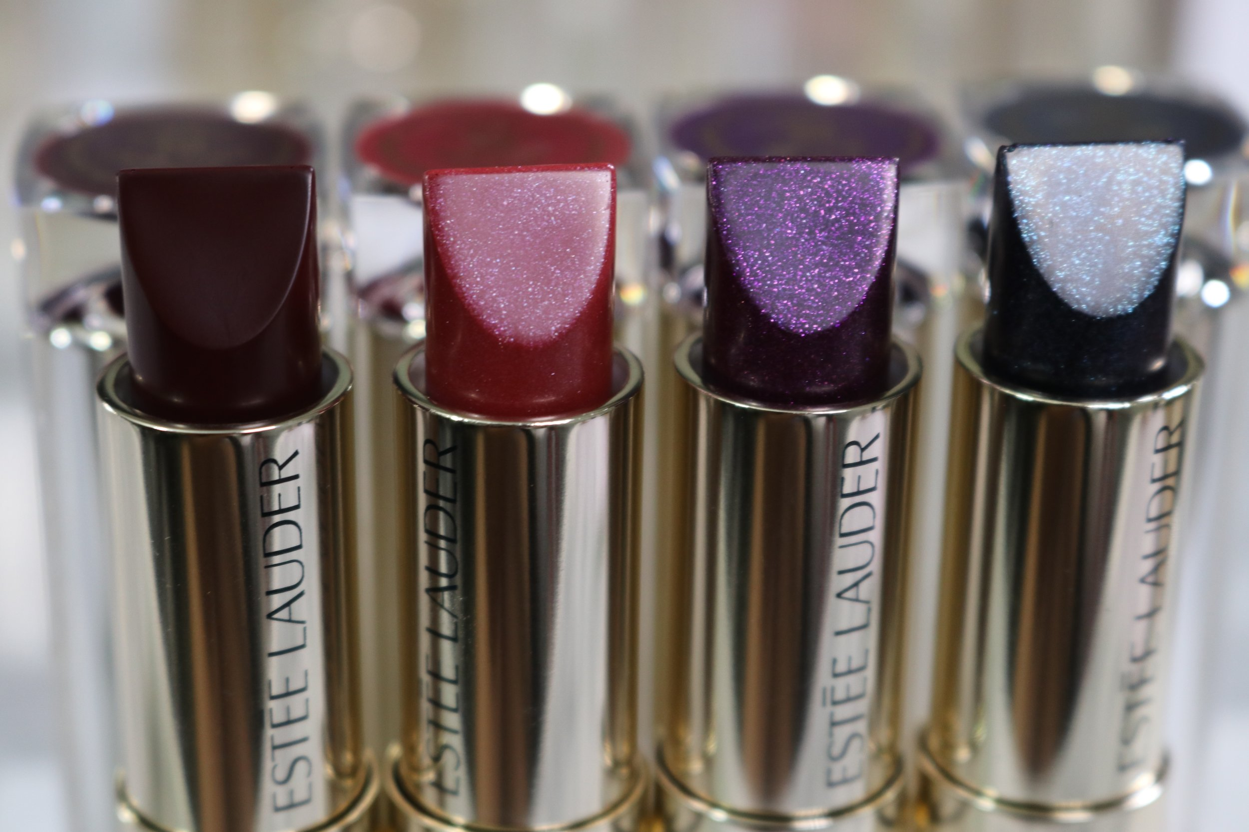 Swatches L to R:450 Orchid Infinity (creme), 460 Ripped Raisin (shimmer pearl), 480 Nova Noir (cooled chrome),470 Moon Rock (cooled chrome)